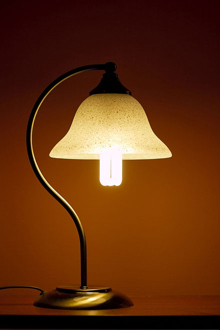 glass lamp shade on a brass lamp, with a cfl light bulb