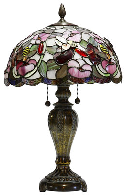 tiffany style lamp and stained glass shade, isolated on a white background
