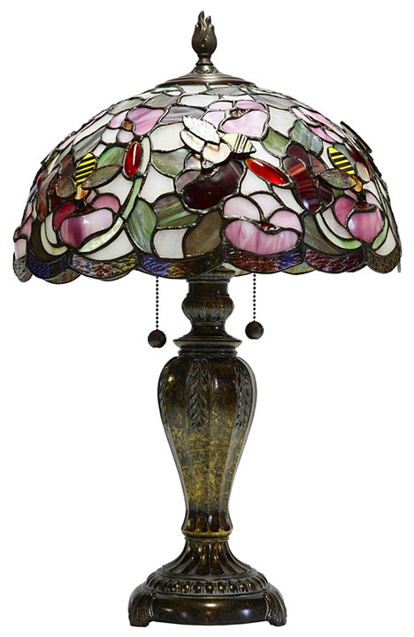 tiffany-style lamp shade on a table lamp